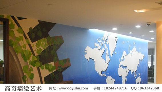 高奇企业墙绘-uhan公司形象墙墙绘